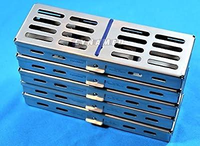 "Set of 5 Dental Sterilization Cassette Autoclave Tray Rack for 5 Instruments 7""X2.5"" Sterilization Cassettes"