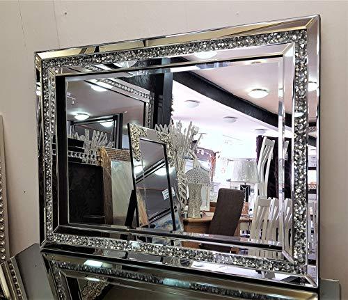 Premierinteriors Gatsby Wandspiegel aus Kristallglas, abgeschrägter Rahmen, 60 x 80 cm