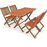 Deuba Conjunto de Muebles de Madera de Acacia con Certificado FSC de jardín 'Sydney Light' Set de 4 sillas + 1 Mesa Plegable