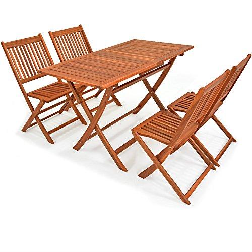 Deuba Conjunto de Muebles de Madera de Acacia con Certificado FSC® de jardín 'Sydney Light' Set de 4 sillas + 1 Mesa Plegable