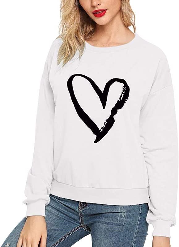 Women Love Print Long Sleeve Round Collar Sweater Top Casual Blouse Sweatshirt Pure Classic Lightweight Pullover Sweatshirt