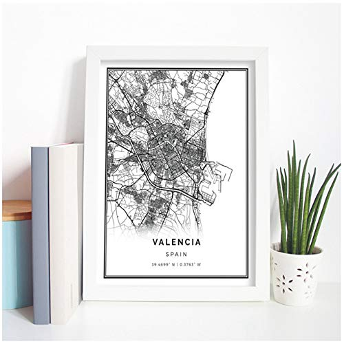 Xiongda Valencia Map Poster Print Wall Art Picture Spain Gift City Street Travel Map Art Painting...