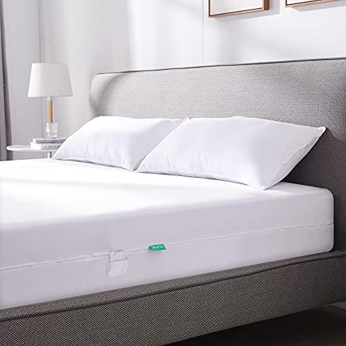 UTTU Wasserdicht Matratzenbezug 120 x 200 cm, Elastischer Anti Milben Matratzenbezug, Matratzenschutz mit 4-Seitigem Reißverschluss, Encasing Matratzenbezug für 15-20 cm Tiefe