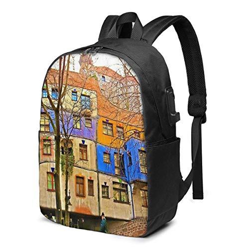 IUBBKI Hundertwasser Haus Wien USB Schulrucksack Canvas-Tasche mit großer Kapazität Casual Travel Daypack für Erwachsene Teenager-Frauen Männer 17in