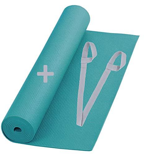 SNIKES Yoga-Matte Türkis (180x60cm) mit gratis Tragegurt - Yogamatte für Gym, Workout und Yoga - Jogamatte rutschfest und extra dünn mit in 4 mm Dicke - Fitnessmatte Sportmatte für Zuhause