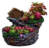 Flower Pot Decorative Indoor/Outdoor Plant Fairy Garden Planter Succulents Plants Flower Pot Miniature Resin Tree Stump Container with Sweet House for Decoration Large DIY Gift (Color : 1)