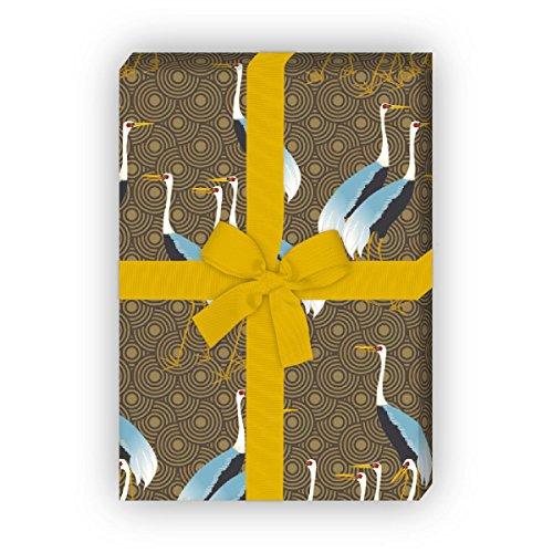 Kartenkaufrausch Klassiek elegante cadeaupapierset met zieken als geschenkverpakking, bruin 4 vellen, 32 x 47,5 cm decorpapier, patroonpapier om in te pakken, designpapier om te knutselen