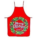 Demason 2 Stück Weihnachtsschürze Kochschürze Latzschürze mit Weihnachtsmann Küchenschürze/Grillschürze/BBQ Schürzen Weihnachtsgeschenk für Erwachsene und Kinder 58 cm x 71 cm