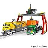 Ingenious Toys Cargo Set Treno Camion Contenitori Gru Città Ferrovia Creator 12pcs #25004 Treno
