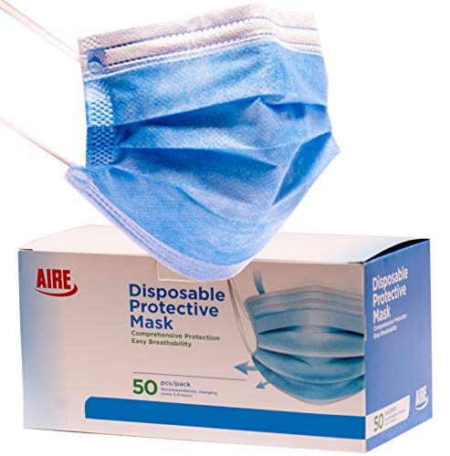 AIRE 3 Ply Premium Disposable Protective Face Mask, Quality Made, Soft & Strong Earloops, Bendable Nose Wire, Prime Shipped (1-Box of 50 masks)