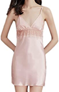 2 pcs, lace Suspender Nightdress, Female Silk Cloth Skirt, Fashionable Sexy Pajamas, Sleeveless Summer Pajamas, Casual Home wear, Soft (Color : Pink, Size : M)