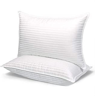"""COZSINOOR Cozy Dream Series Hotel Quality Pillows for Sleeping [Set of Two] Premium Plush Fiber, 100% Breathable Cotton Cover Skin-Friendly, Queen size 20""""x30"""", White"""