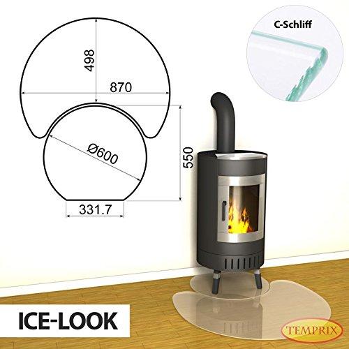 Open haard vloerplaat Ontario tweedelig glasplaat Ice Look seizoensplaat oven voorlegplaat