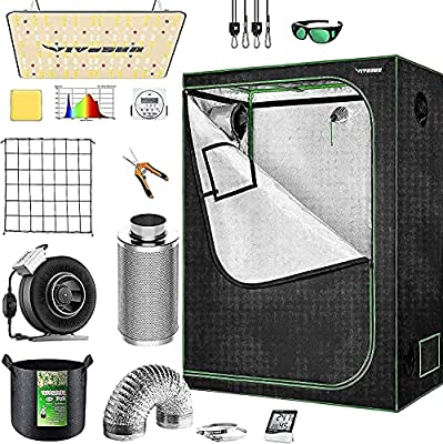 """VIVOSUN Grow Tent Kit Complete, 48""""x24""""x60"""" Grow Tent Complete System with VS1000 Led Grow Light, 4 Inch 203 CFM Inline Fan, Carbon Filter and 8ft Ducting Combo"""