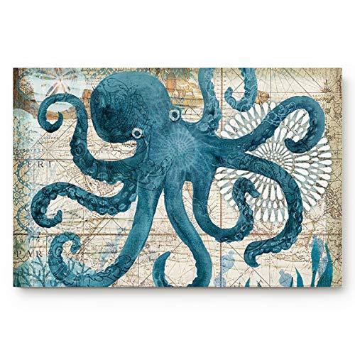 Modern Non Slip Doormats Octopus Watercolor Sea World Animal Home Bathroom Bath Shower Bedroom Mat Toilet Floor Door Mat Rug Carpet Pad 18x30in