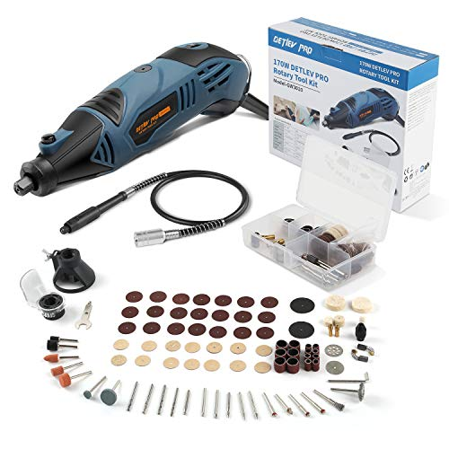 DETLEV PRO Multifunctional Rotary Tool with 153 Accessories 5+1 Speed Suitable for DIY Grinding Cutting Engraving