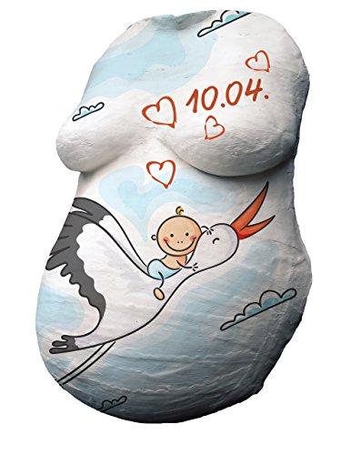 Babybauch Premium Lot de 4 empreintes de plâtre 3D en plâtre avec 12 couleurs et emballage cadeau pour BABY BAUCH, plâtre, arbre de grossesse, masque ventre