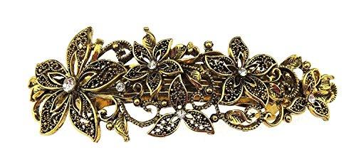 Glamour Girlz - Pasador de pelo con diseño floral y diamante dorado