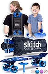 ✅ PERFECT FOR BEGINNERS - Fully adjustable for safe speeds for small children with an easier to carry, lightweight design with backpack is why parents choose Skitch as the best skateboard for beginner boys, girls and kids ages 6-12 years old ✅ PERFEC...