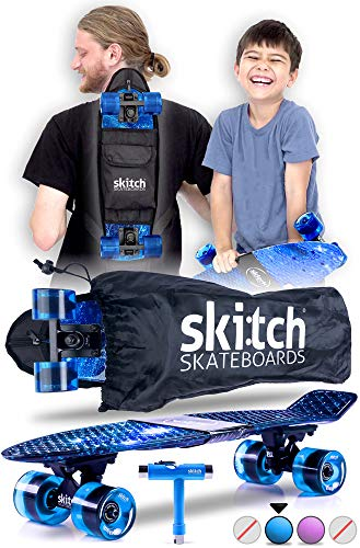SKITCH Complete Skateboards Gift Set for Beginners Boys Girls and Kids of All Ages with 22 Inch Mini Cruiser Board + All Accessories (Blue Galaxy)