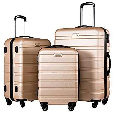 Coolife Luggage 3 Piece Set Suitcase Spinner Hardshell Lightweight (champagne3)