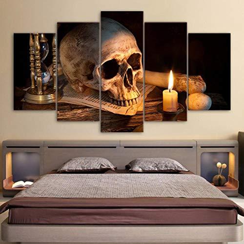 Wuzhaodi canvasdruk 5 panelen Scary Schedel brandende kaars foto's woonkamer huis muurkunst decoratie Größe 2 A