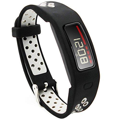 Elespoto Garmin Vivofit 1 Uhrarmband, Ersatz-Armband mit Metall-Verschluss Schnalle Ersatzarmbänder für Garmin Vivofit 1 Generation Zubehör Gurt (Black Grey)