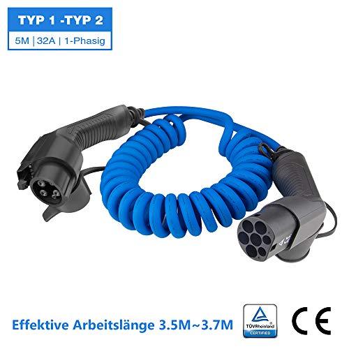 BESENERGY EV Cable de Carga - Tipo 1 a Tipo 2 - 32 amperios - 7.2kW - 5 Metros | Bolsa de Transporte