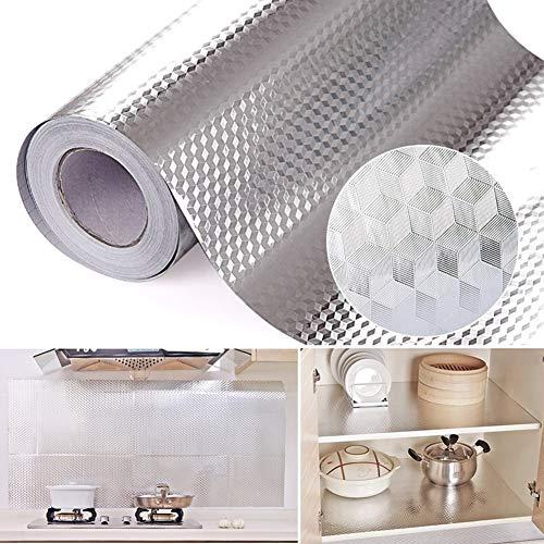 KEYkey Küche Aluminiumfolie Aufkleber Anti Greasy Removable Self Adhesive Herd Schränke Theken Aufkleber für Hauptdekor DIY Tapete Silber