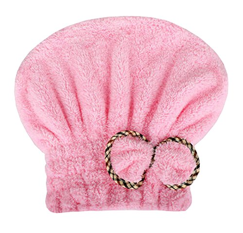 """Wukong Direct Water Absorption Soft Turban Lovely Bowknot Shower Cap Bath Hair Toile sèche 9.84""""x 25.59"""" (Rose)"""