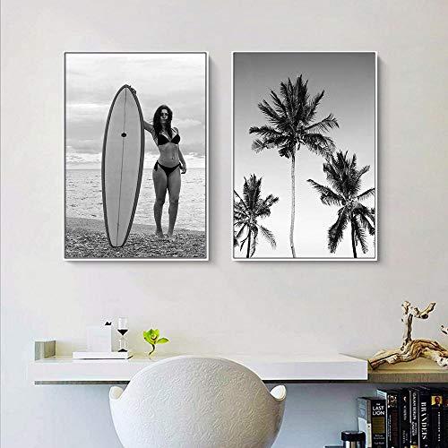Tabla de surf para niñas Arte de la pared Pintura en lienzo Palmera tropical Carteles e impresiones nórdicos Imágenes de pared en blanco y negro para sala de estar 40x60cmx2 Sin marco