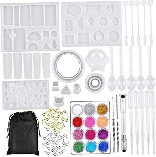 XinYiC Juego de herramientas de colado de cristal para colgante de joyería, combinación de moldes de silicona para joyería de bricolaje 94 piezas herramienta para el hogar