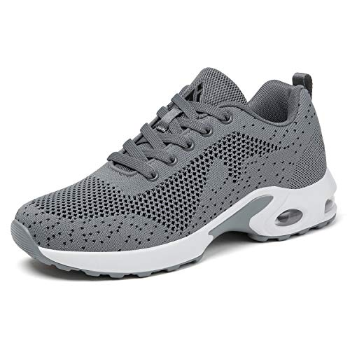 Mishansha Running Shoes Air Cushion Mesh Comfortable Gym Women's Casual Shoes Training Sneakers Walking Training Athletic Gym Grey 6