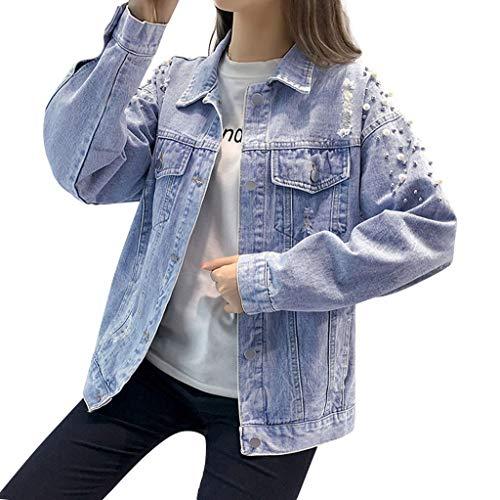 KaloryWee 2020 Neu Perlenstickerei Mode Damen Jeanshemd Denim Jacken Tasche Loch Cowboy-Strickjacke Brusttasche