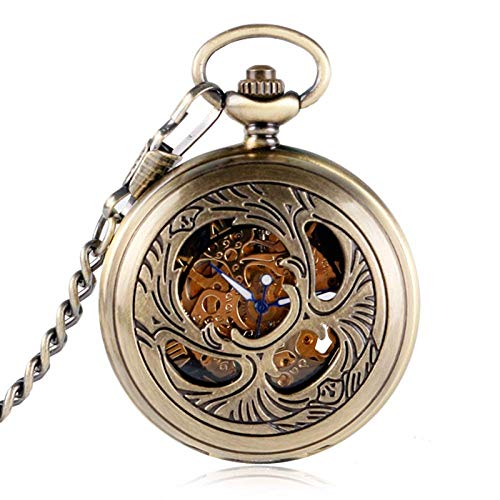 QULONG Reloj de Bolsillo Mascota de Moda Colgante de Estilo Fénix para Hombres Mujeres Amigos Ancianos Cuerda Manual Relojes de Bolsillo mecánicos Regalos Vintage