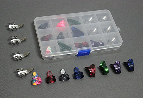 15pcs Stainless Steel Celluloid Thumb Finger Guitar Picks Plectrum + 15 Grid Case Storage Box
