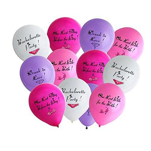 Lumanuby 12x Wort Luftballons Rund aus Latex Helium Luftballon mit Bild für Bachelor Party/Einzelparty Weib/Rosa/Violett/Rose Farbe, Ballon Serie
