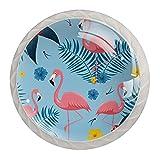 Tiradores Para Muebles Niños Flamenco Azul Pomo Para Muebles Cristal Pomos Y Tiradores Impresión Manija Del Cajón Para Habitación Infantil 4 Piezas 3.5×2.8CM