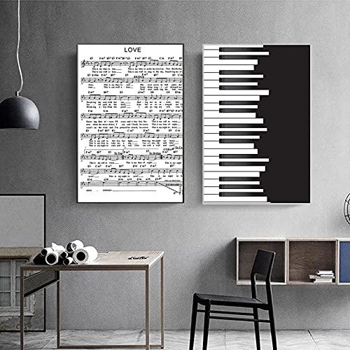 XNHXPH Nero Bianco Pianoforte Spartiti su Tela Pittura Morden Poster Stampa Minimalista Wall Art Nordic Semplice Soggiorno Home Decor Immagini 50x75cmx2 Senza Cornice