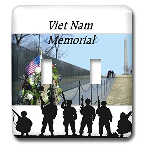3dRose lens Art by Florene - Memorial Day - Image of Viet Nam Memorial With Silhouette Soldiers - double toggle switch (lsp_309798_2)