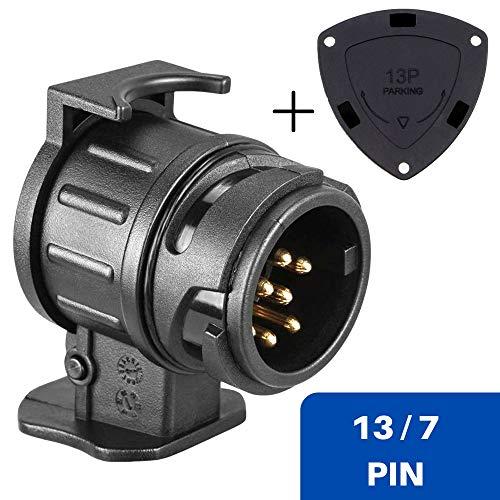 13 auf 7-polig Adapter Stecker, inklusive 13 PIN Parking Cover, nach ISO 11446 und ISO 1724, für 12 V Hänger Systeme, Steckverbindung Anhänger zu Auto, für Fahrradständer, Fahrradträger, Hänger