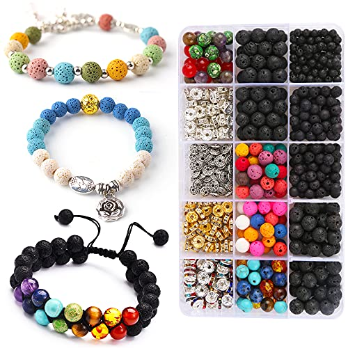 Pierre volcanique, 599 pcs perle pierre naturelle, DIY perles pour bracelet, pierre de lave, Utilisé pour le jeu de perles de bricolage, les bracelets, les boucles d oreilles et les colliers