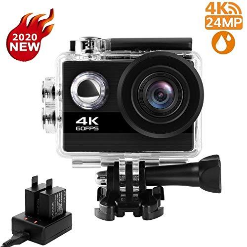Shuainiu Actioncam 【4K 60FPS 24MP 】 WiFi 170° Weitwinkel Aktionkameras Wasserdicht 30M Unterwasserkamera Ultra Full HD Sport Action Kamera mit Ladegerät 2 Akkus und Gratis Zubehör