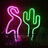 LED-Hang Pink Flamingo Neon und grüner Kaktus Neon Kombination Neonzeichen Batteriebetriebene/USB...