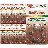 60 Piles Auditives EarPower 312 (Lot de 10 Plaquettes de 6 Piles) / Piles pour Appareils Auditifs/Aides Auditives. 0% Mercure / PR41 - Zinc Air - 1.45V / Taille 312, A312, P312