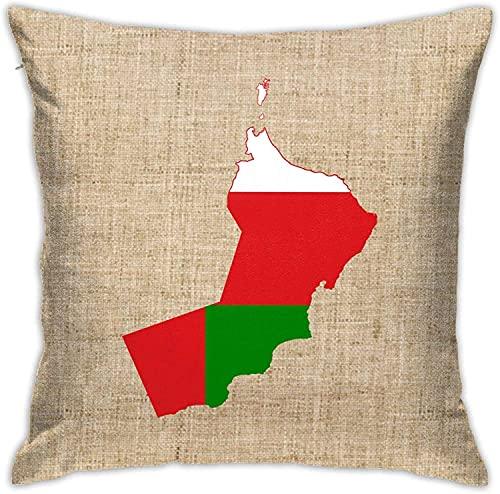 Mapa de la Bandera de Omán Almohada Cuadrada Decorativa...