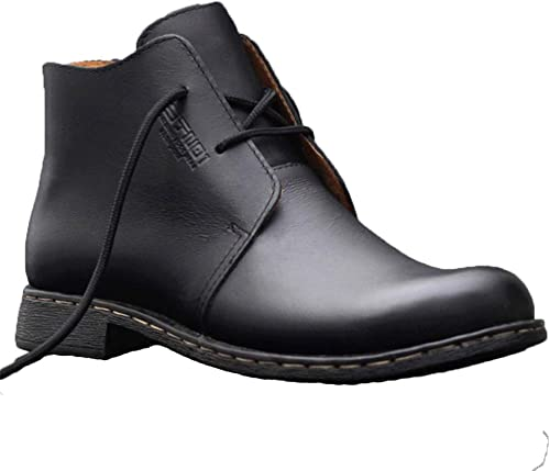 ZHRUI Stiefel Chukka clásicas para herren Stiefel Antideslizantes duraderas y Suela Suave de Cuero Genuino de Suela Blanda (Farbe   schwarz, tamaño   EU 39)