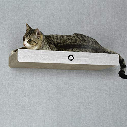 CanadianCat Company ® | Kratzbrett mit verdeckter Wandbefestigung Cloud | hellgrau | ca. 70 x 30 x 8 cm Kletterwand Katze