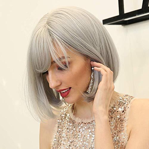 HAIRCUBE Fashion grey Gris Short perruques avec frange perruques synthétiques résistant à la chaleur pour femmes 12 pouces