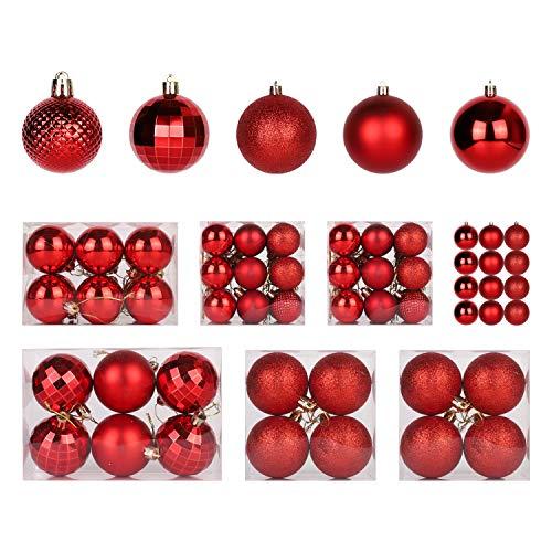 SALCAR Weihnachtskugeln Set Rot,Christbaumkugeln Plastik Bruchsicher mit Kunststoff Weihnachtsbaumkugeln Box, Weihnachtsbaum Deko & Christbaumschmuck-100 Stück